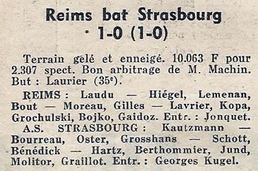 1965 CDF 32ème Finale REIMS AS STRASBOURG 1-0, le 15/01/1966