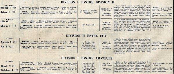 1965 CDF 8ème Finale : REIMS RENNES 1-1 ( ap) , le 13/03/1966
