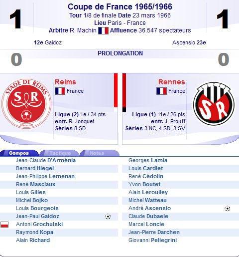 1965 CDF 8ème Finale : Match 2 : REIMS RENNES 1-1 ( ap) , le 23/03/1966
