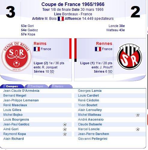 1965 CDF 8ème Finale : Match 3 : REIMS RENNES 3-2 , le 30/03/1966