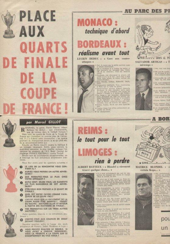 1962 CDF QUART Finale REIMS LIMOGES 4-3 ( ap ) , le 31/03/1963