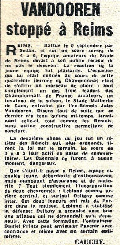 1951 CFA J04 REIMS CAEN 3-0, le 23/09/1951