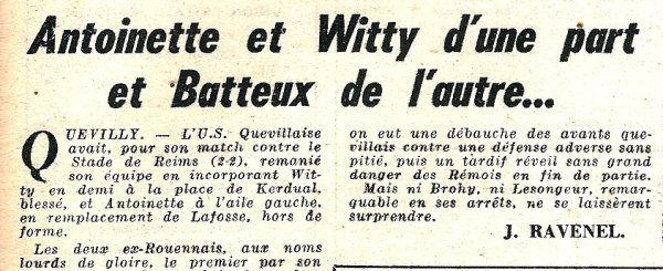 1951 CFA J06 QUEVILLY REIMS 2-2, le 07/10/1951