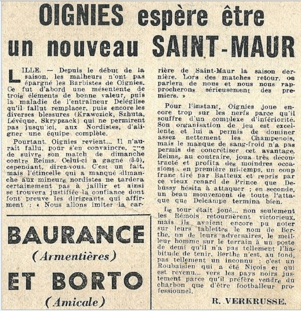 1951 CFA J08 OIGNIES REIMS 0-2, le 28/10/1951