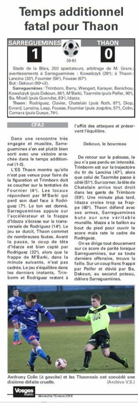 2015 CFA2 MAJ du Calendrier , Groupe F, le 13/03/2016