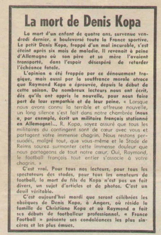 1962 REIMS : Déces de Denis Kopa, le 16/02/1963