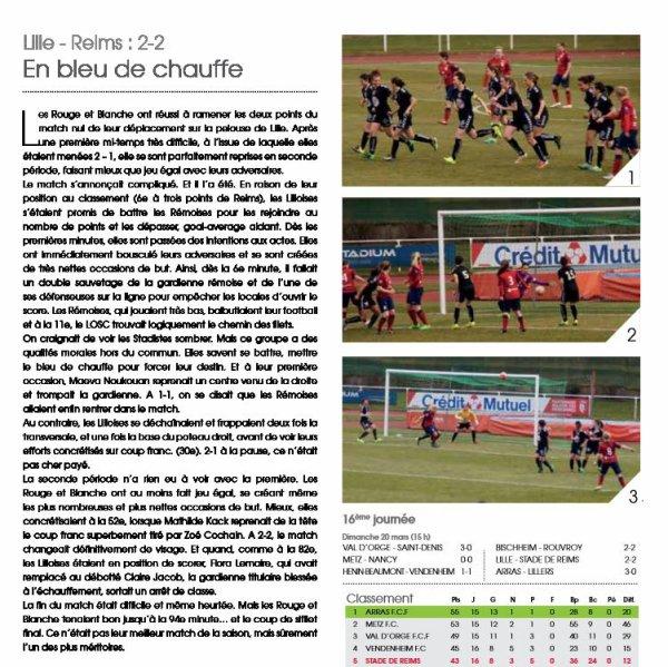 2015 D2 Féminines J16 LILLE REIMS 2-2, le 20/03/2016