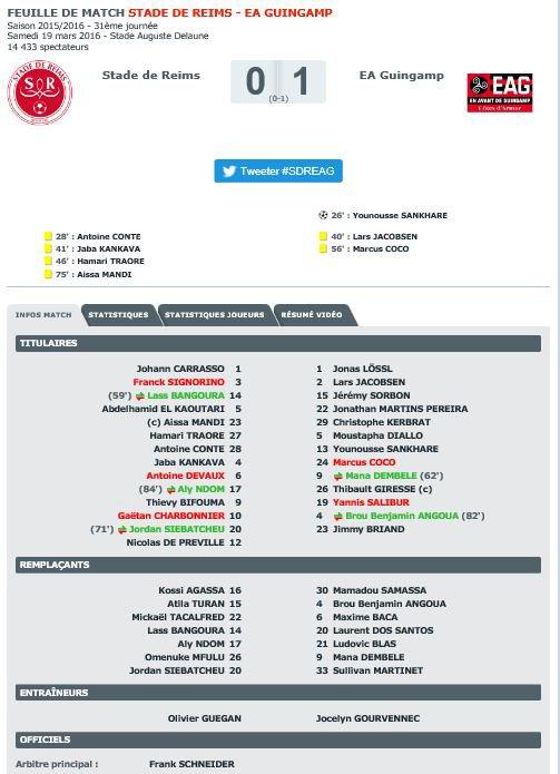 2015 Ligue 1 J31 REIMS GUINGAMP 0-1,  le 19/03/2016