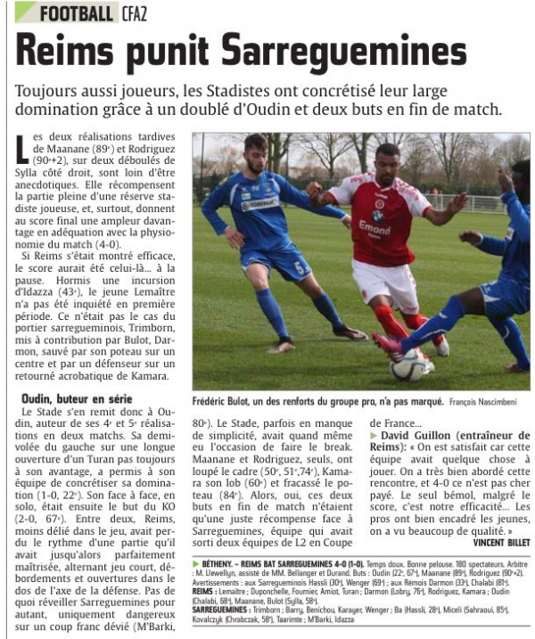 2015 CFA2 J19 REIMS SARREGUEMINES 4-0, le 03/04/2016