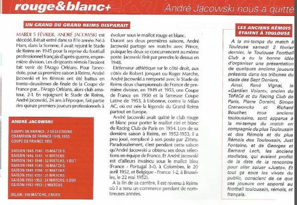 2001 REIMS : Décès d' ANDRE JACOWSKI, le 05/02/2002