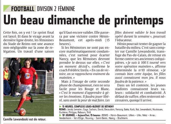 2015 Féminine D2 J19 REIMS HENIN-BEAUMONT 0-0, le 10/04/2016