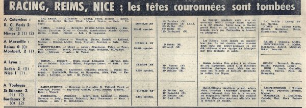 1960 CDF Quart MONTPELLIER REIMS 2-0, le 26/03/1961