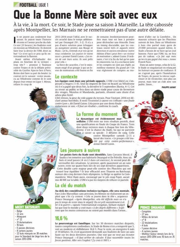 2015 Ligue 1 J37 MARSEILLE REIMS, l'avant match, le 06/05/2016