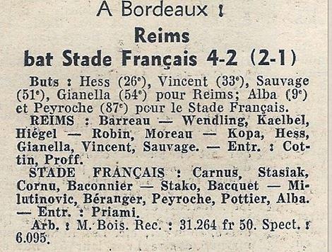 1963 CDF 32ème REIMS STADE FRANCAIS 4-2, le 12/01/1964