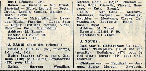 1963 CDF 16ème Match 2 REIMS LILLE 2-1 (ap) , le 14/02/1964