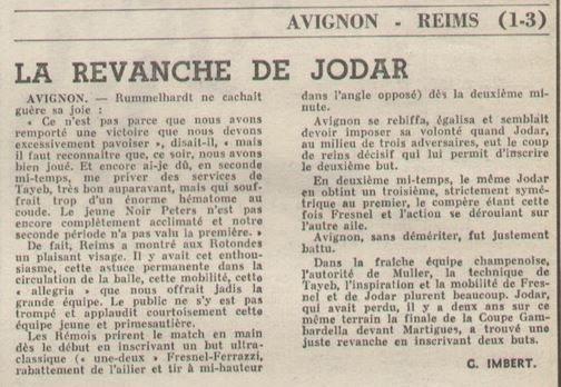 1968 D2 J27 AVIGNON REIMS 1-3, le 15/03/1969