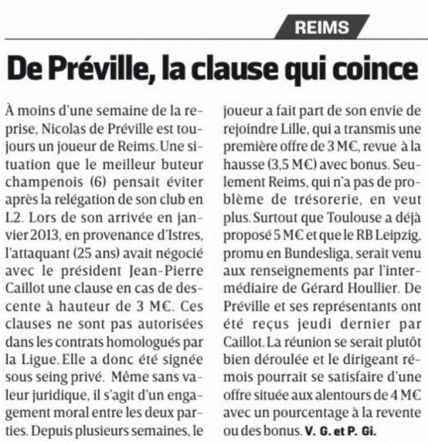 """2016 MERCATO : """" CLAUSE COMBAT """" pour de PREVILLE, le 15/06/2016"""