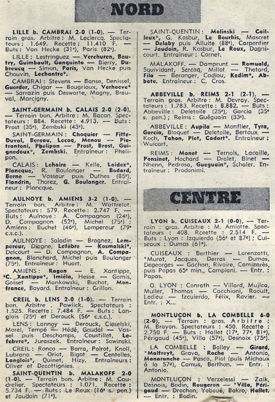 1969 CFA J22 ABBEVILLE REIMS 2-1, le 01/03/1970