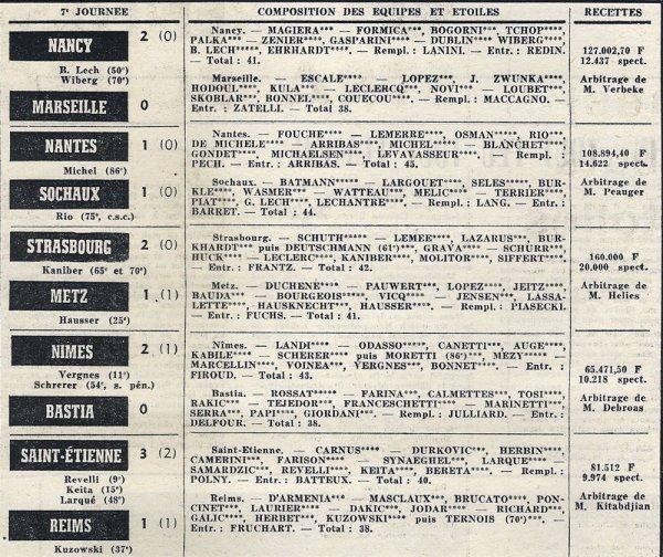 1970 D1 J07 SAINT ETIENNE REIMS 3-1, le 19/09/1970