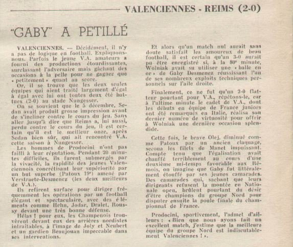 1970 D3 J16 VALENCIENNES REIMS 2-0, le 10/01/1971