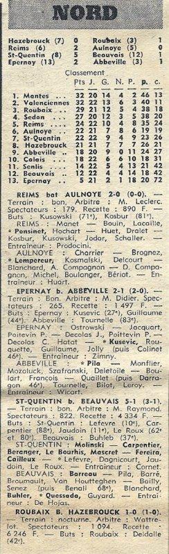 1970 D3 J17 ( joué après J24) REIMS AULNOYE 2-0, le 28/03/1971
