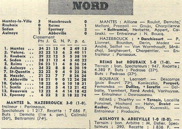 1970 D3 J22 ( joué après J17 ) ROUBAIX REIMS 0-1, le 04/04/1971
