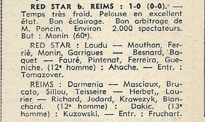 1970 CDF16 Match 2 RED STAR REIMS 1-0, le 03/03/1971