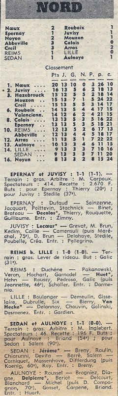 1972 D3 J13 REIMS LILLE 1-0, le 19/11/1972