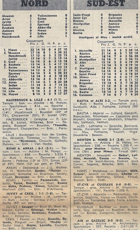 1972 D3 J14 ARRAS REIMS 1-6, le 03/12/1972