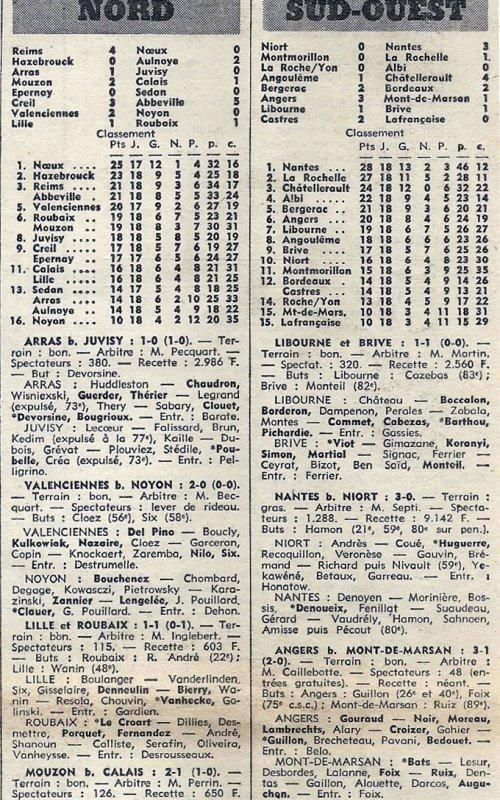1972 D3 J18 REIMS NOEUX les MINES 4-0, le 02/02/1973