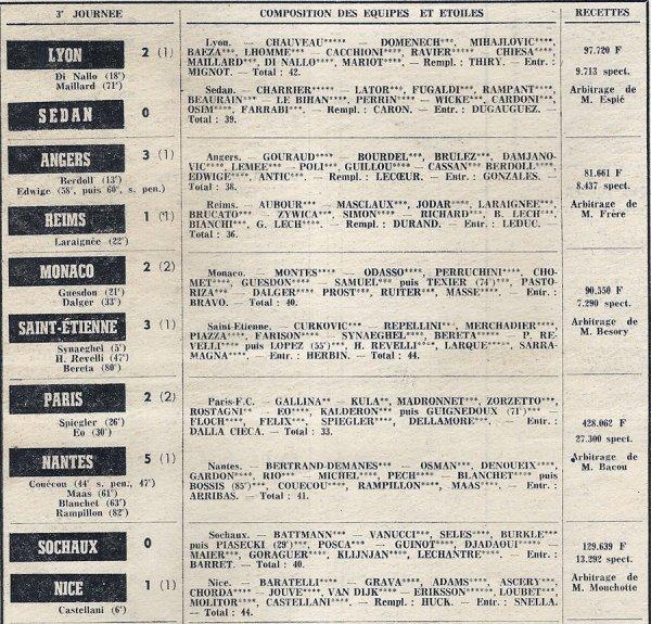 1973 D1 J03 ANGERS REIMS 3-1, le 14/08/1973