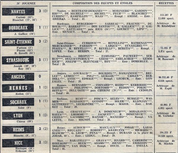 1973 D1 J26 REIMS NICE 2-2, le 17/02/1974