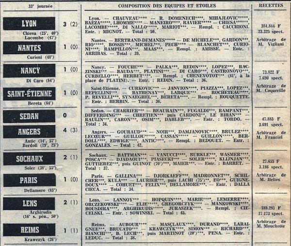 1973 D1 J33 LENS REIMS 2-1, le 16/04/1974