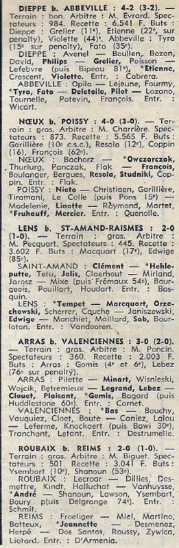 1973 D3 J19 ROUBAIX REIMS 2-0, le 27/01/1974