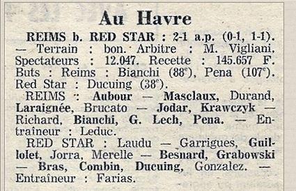 1973 CDF 32ème REIMS RED STAR 2-1 (ap) le 03/02/1974