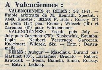 1973 CDF 16ème Aller VALENCIENNES REIMS 2-2, le 03/03/1974