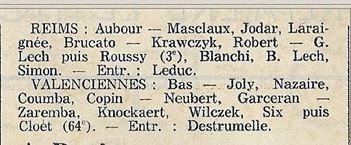 1973 CDF 16ème Retour REIMS VALENCIENNES 4-1, le 10/03/1974