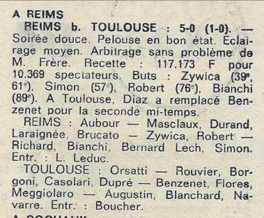 1973 CDF 8ème Retour REIMS TOULOUSE 5-0, le 03/04/1974