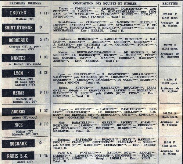 1974 D1 J01 LYON REIMS 3-3, le 02/08/1974