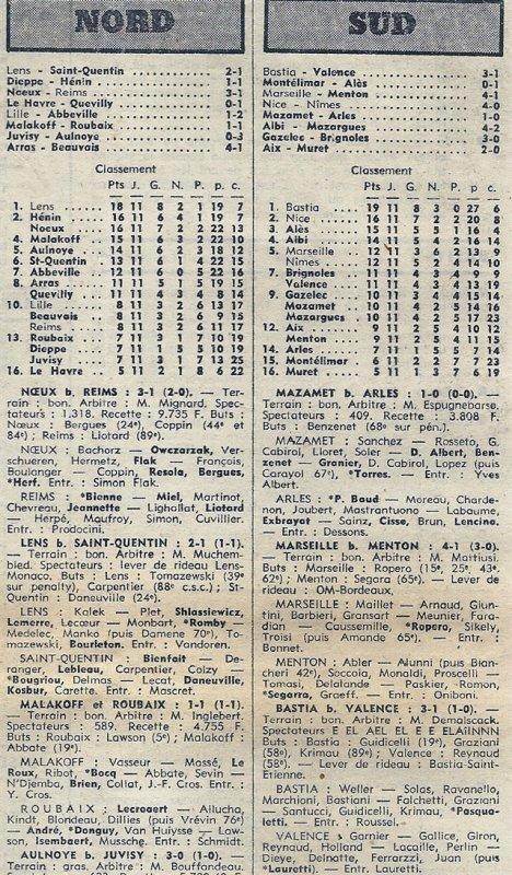 1974 D3 J11 NOEUX les MINES REIMS 3-1, le 10/11/1974