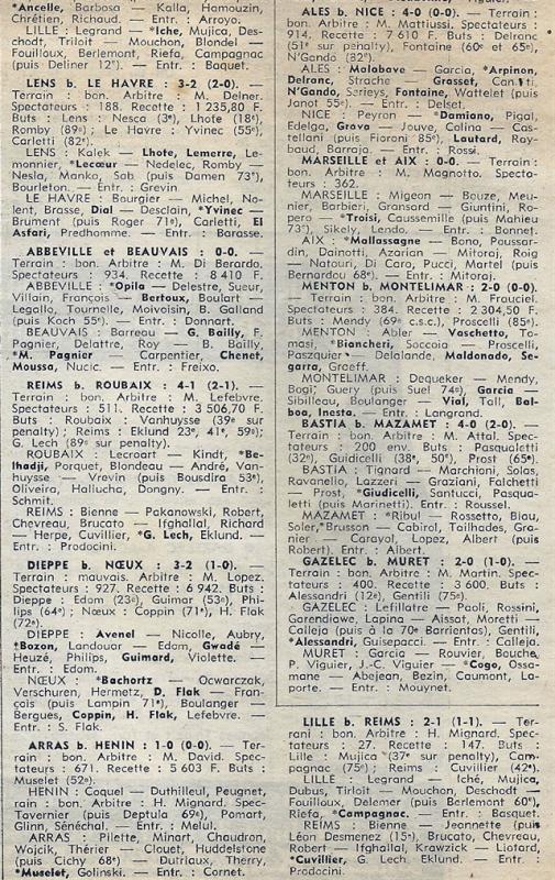 1974 D3 J24 ( joué après J28)  LILLE REIMS 2-1, le 24/04/1975