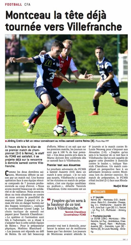 2016 CFA J02 LYON REIMS , l'avant match, le 19/08/2016