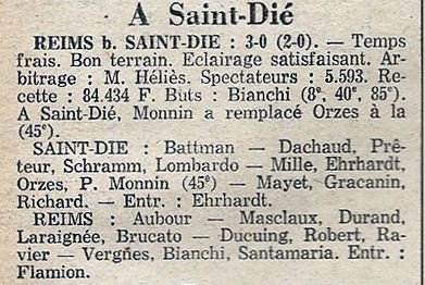 1975 CDF 16ème Finale Aller SAINT DIE REIMS 0-3, le 28/02/1976