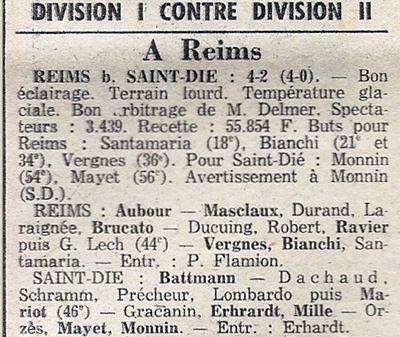 1975 CDF 16ème Finale Retour REIMS SAINT DIE 4-2, le 06/03/1976