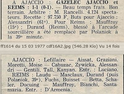 1976 CDF 16ème finale Aller GAZELEC REIMS 1-1, le 12/03/1977