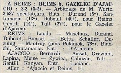 1976 CDF 16ème finale Retour REIMS GAZELEC  3-2, le 19/03/1977