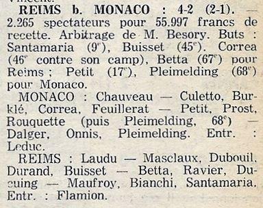 1976 CDF 8ème finale Retour MONACO REIMS  2-4,le 12/04/1977