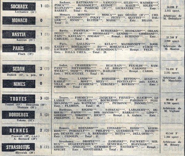 1973 D1 J16 METZ REIMS 1-0, le 16/11/1973