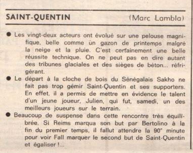 1977 D3 J18 SAINT-QUENTIN REIMS 2-2, le 05/02/1978