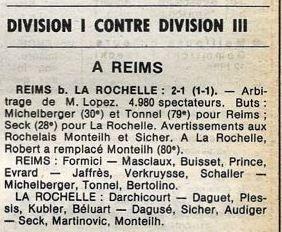 1978 CDF 16ème finale Retour REIMS LA ROCHELLE 2-1, le 24/03/1979